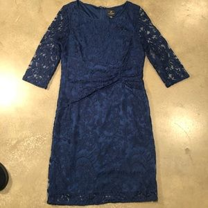 👉 Adrianna Papell Blue Embroidered 3/4 sleev…